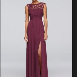 Wine Long Bridesmaid Dress with Lace Bodice